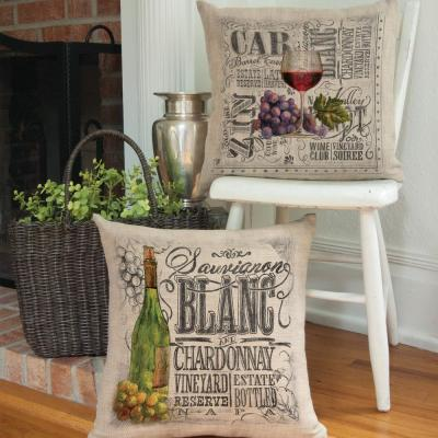 Wine Country Red 18 in. x 18 in. Natural Pillow Cover
