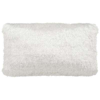 12 in. x 20 in. Soleil Shag Pearl Rectangle Outdoor Throw Pillow