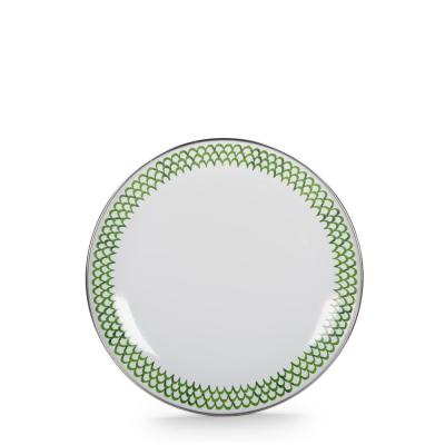 Green Scallop 8 in. Enamelware Round Sandwich Plate