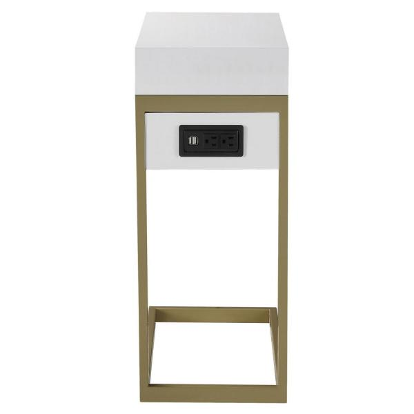 Loft Lyfe Magnus White/Gold End Table with 2-USB Charging Ports, 2-Outlets