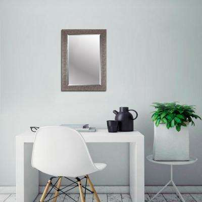Crackled 22.50 in. x 34.50 in. x 0.63 in. Antique Silver Beveled Wall Mirror