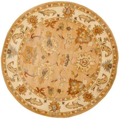 Bergama Taupe/Ivory 6 ft. x 6 ft. Round Area Rug