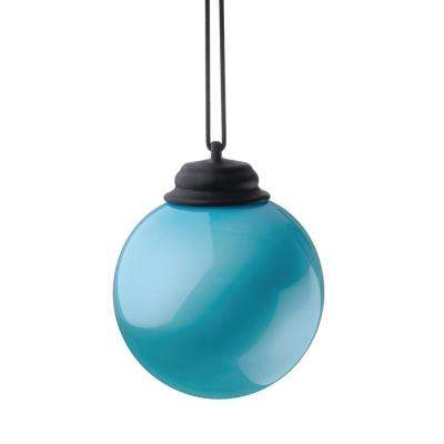 5 in. Light Blue LED Hanging Patio Globe