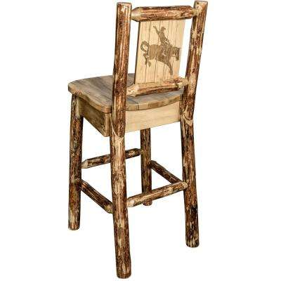 Glacier 30 in. Laser Engraved Bronc Motif Bar Stool