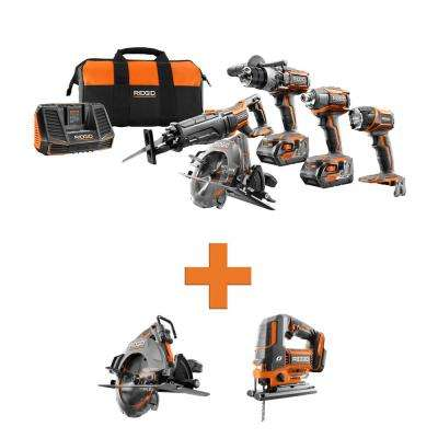 18-Volt Lithium-Ion Cordless 5-Tool Combo w/Bonus OCTANE Brushless Circular Saw & OCTANE Brushless Jig Saw