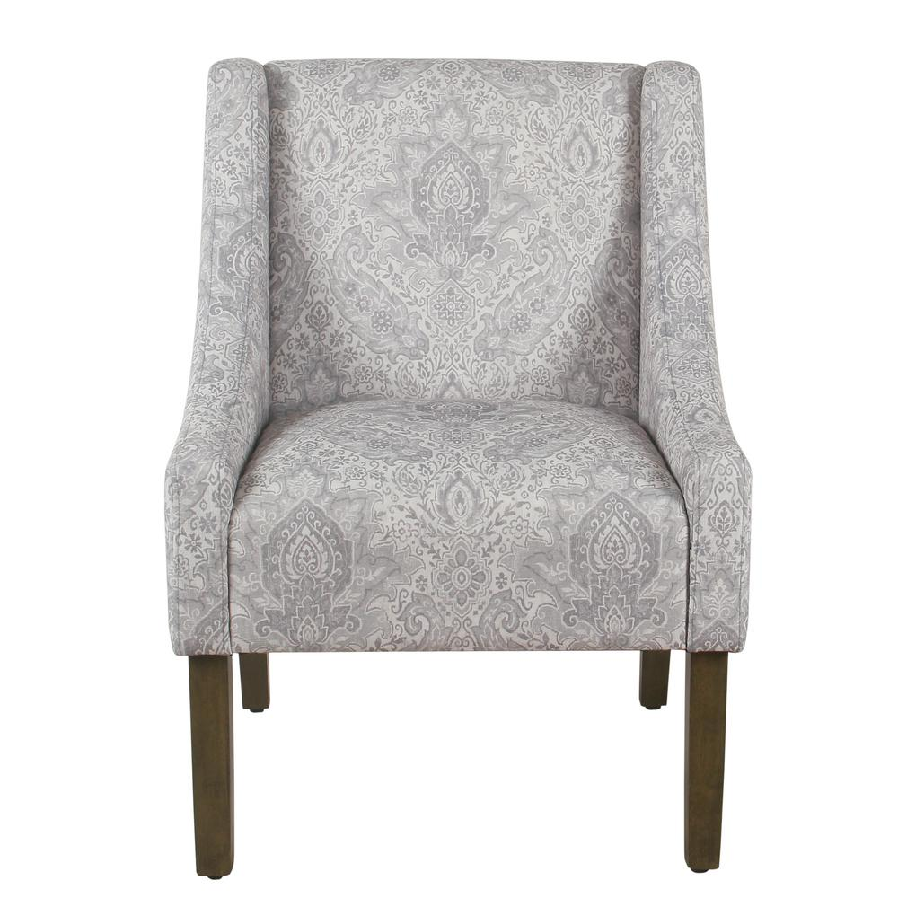 Swoop Gray and Cream Damask Upholstery Accent Chair