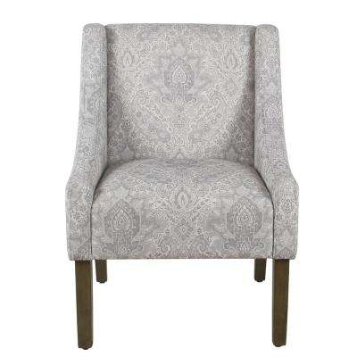 Distressed Gray Damask Modern Swoop Arm Chair