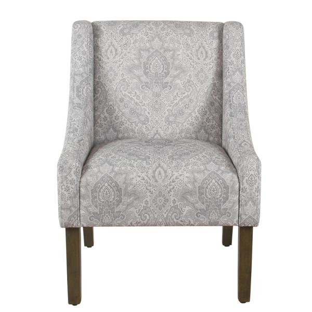 Homepop Distressed Gray Damask Modern Swoop Arm Chair