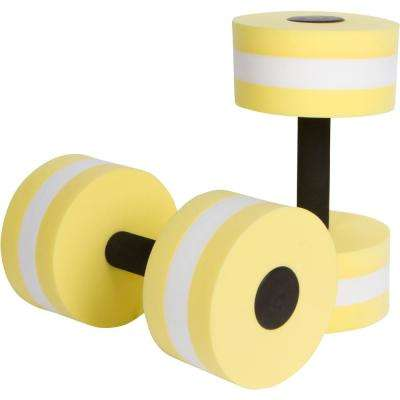Yellow Foam Aquatic Exercise Dumbells for Water Aerobics (Set of 2)