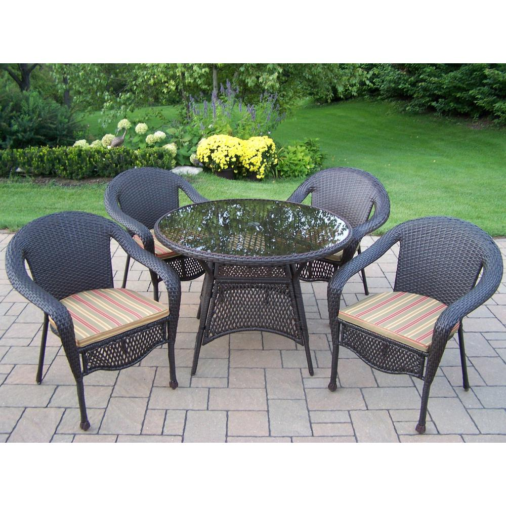 Elite 5-Piece Resin Wicker Outdoor Dining Set with Green Stripe Cushions