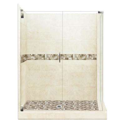 Tuscany Grand Hinged 42 in. x 48 in. x 80 in. Left-Hand Corner Shower Kit in Desert Sand and Chrome Hardware