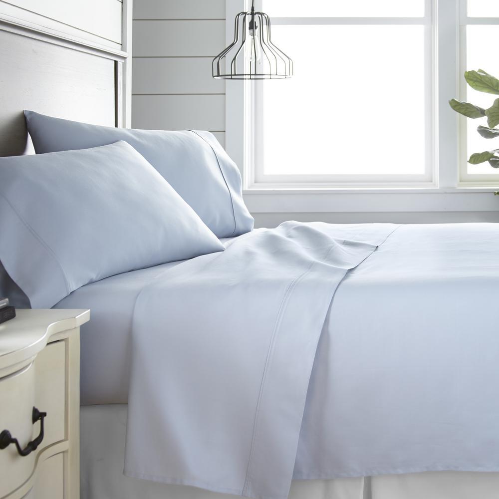 4-Piece Light Blue 300 Thread Count Cotton King Bed Sheet Set