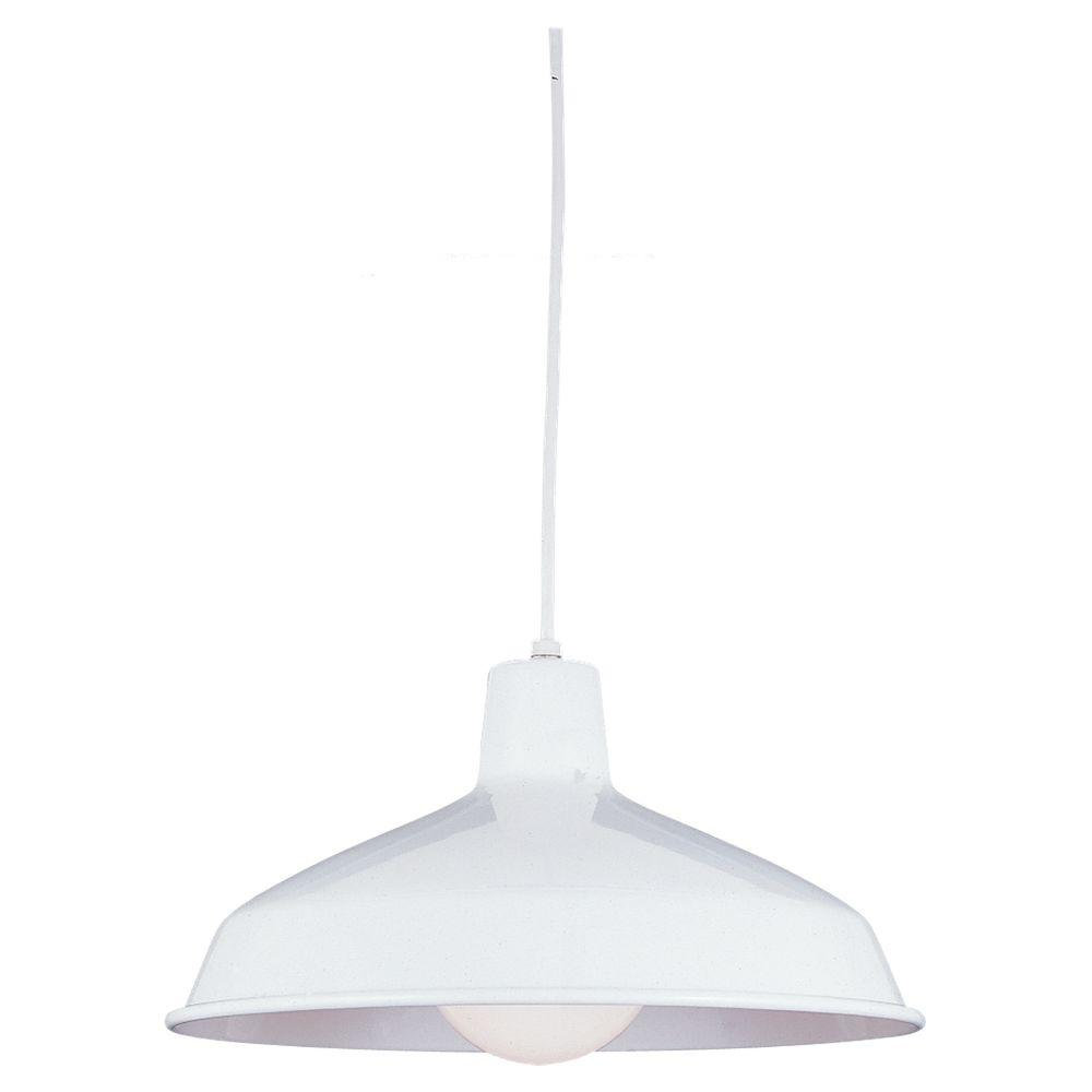 Sea Gull Lighting Painted Shade 15 75 In W 1 Light White Warehouse Style Metal Pendant With 54 Cord
