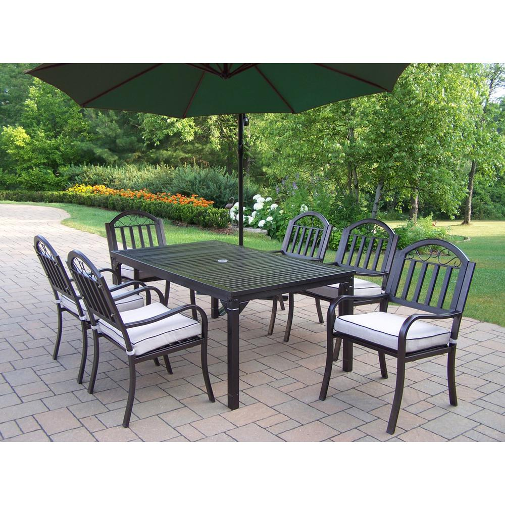 8-Piece Aluminum Outdoor Dining Set with Tan Cushions and Green Umbrella