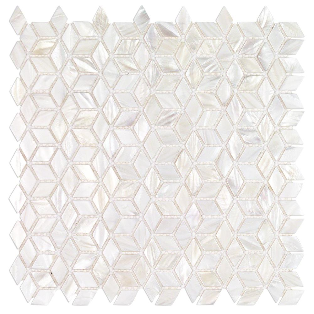 Ivy Hill Tile Pacif White 3d Illusion 11 81 In X 11 81 In X 2 Mm Pearl Shell Mosaic Tile Ext3rd102053 The Home Depot