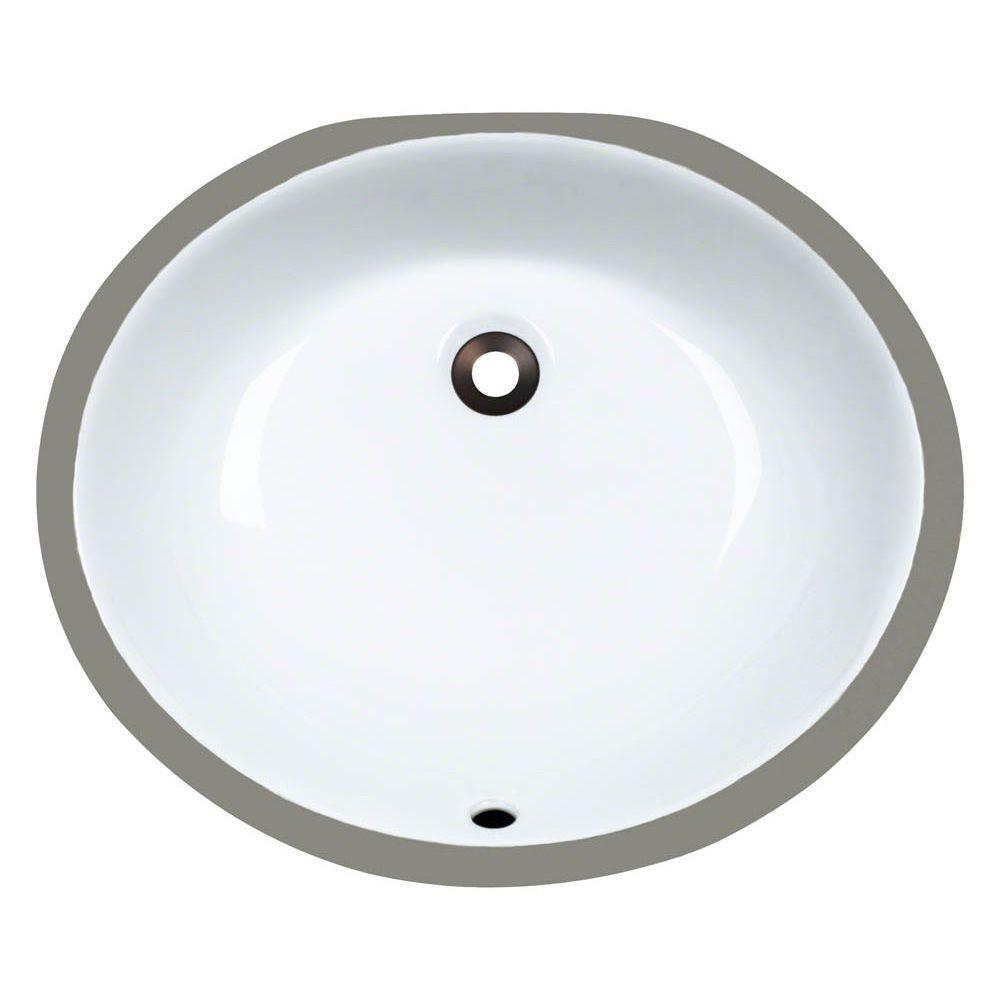 Polaris Sinks Undermount Porcelain Bathroom Sink In White