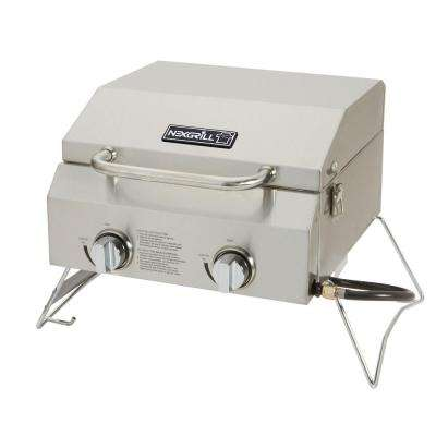 2-Burner Portable Propane Gas Table Top Grill in Stainless Steel