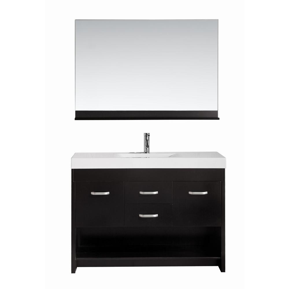 Design Element Citrus 48 in. W x 18 in. D Single Vanity in Espresso with Acrylic Vanity Top and Mirror in White