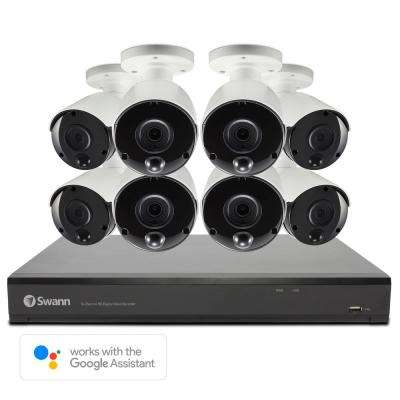 4K 16-Channel DVR Surveillance System, 8 Bullet Cameras, 2TB, Google Voice Command