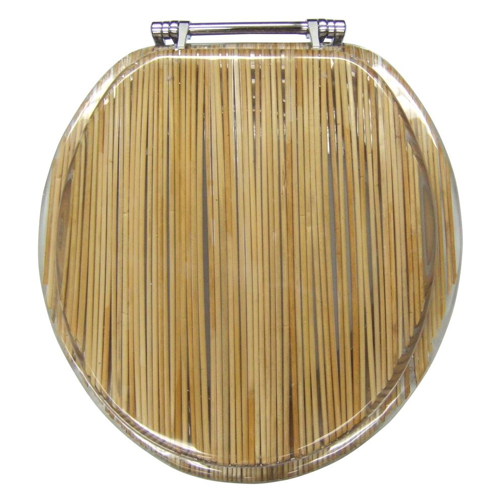 Spotless Bath Ginsey Round Closed Front Toilet Seat in Resin Bamboo ...