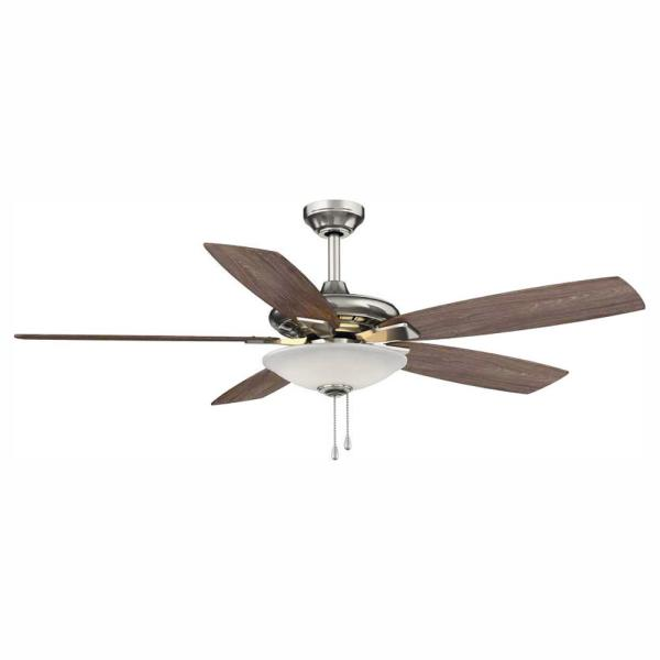 Menage 52 in. Integrated LED Indoor Low Profile Brushed Nickel Ceiling Fan with Light Kit