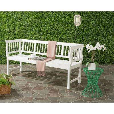 Brentwood Outdoor Acacia Patio Bench in White