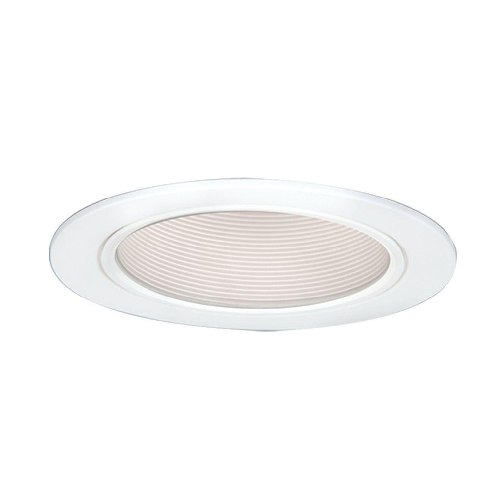5 in. White CFL Recessed Ceiling Light Baffle Trim with Reflector