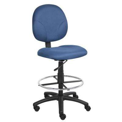Blue Fabric Drafting Stools with Foot-Ring