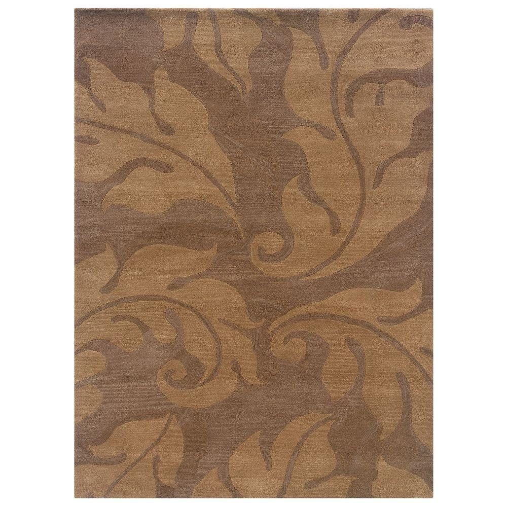 Florence Collection Beige and Gold 5 ft. x 7 ft. Indoor