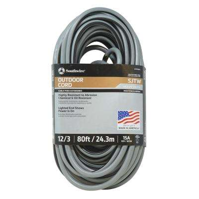 80 ft. 12/3 Black/Gray Heavy-Duty Extension Cord with Lighted End