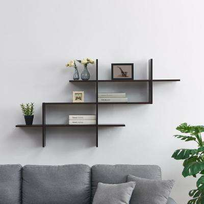 Hanover Walnut MDF Wood Elongated Decorative Wall Shelf