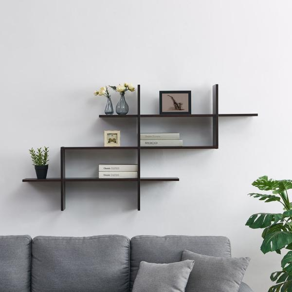 DANYA B Hanover Walnut MDF Wood Elongated Decorative Wall Shelf XF170503WN