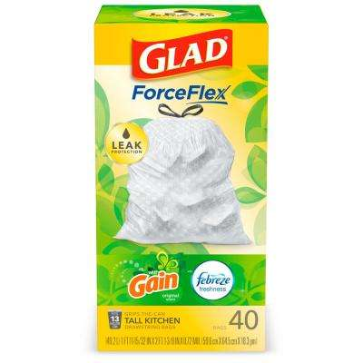 13 Gal. ForceFlex Tall Kitchen Drawstring Gain Original with Febreze Odor Shield Trash Bags (40-Count)