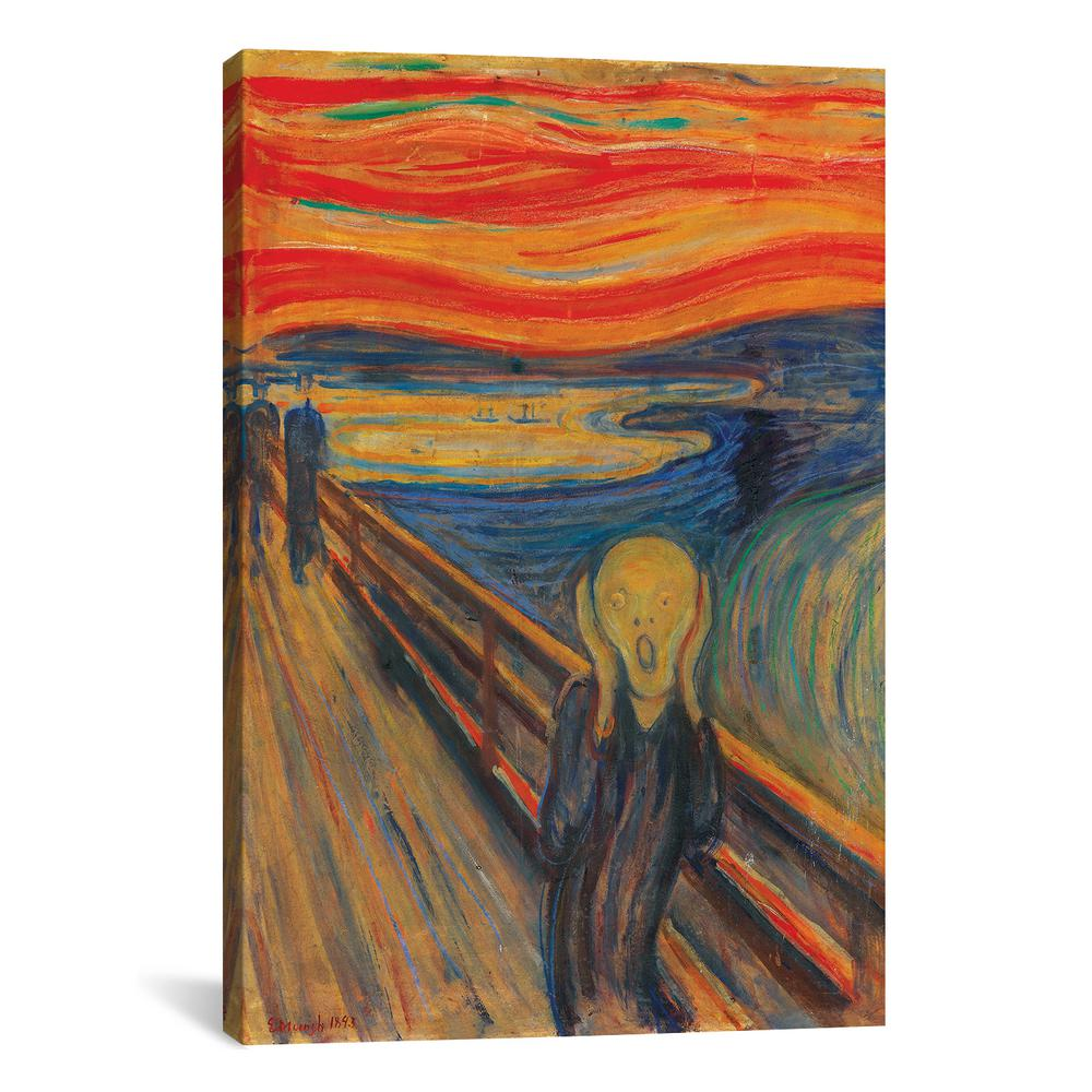 THE SCREAM PAINT BROWN  BY EDWARD MUNCH PRINT  ON FRAMED CANVAS WALL ART DECOR