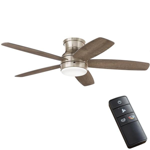 Home Decorators Collection Ashby Park 52 In White Color Changing Integrated Led Brushed Nickel Ceiling Fan With Light Kit And Remote Control 59252 The Home Depot