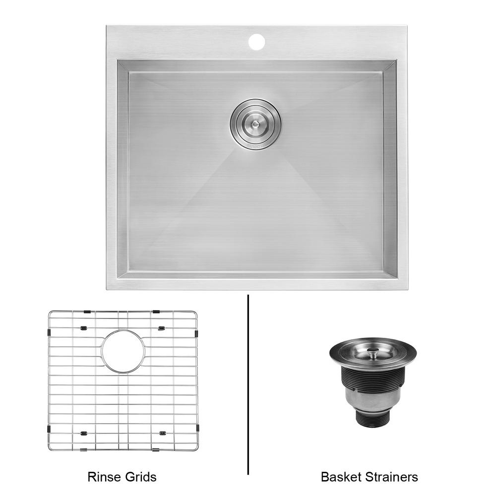 Ruvati 25 in. x 22 in. x 12 in. Deep Drop in Top Mount Single Bowl