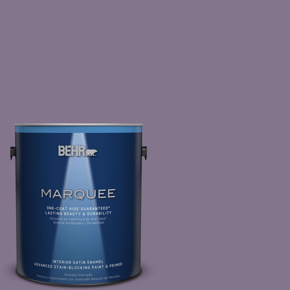 1 gal. #S100-5 Purple Potion One-Coat Hide Satin Enamel Interior Paint