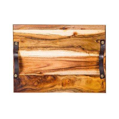 17 in. Acacia Tray with Handles