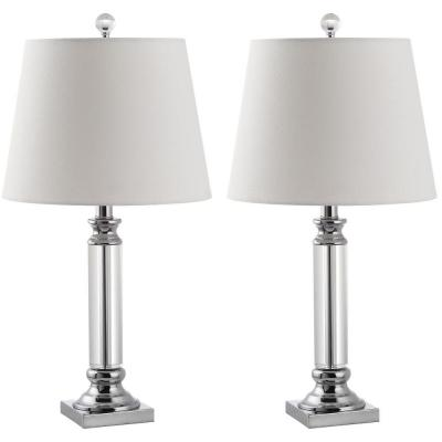 Zara 23.5 in. Clear Crystal Pillar Table Lamp with White Shade (Set of 2)
