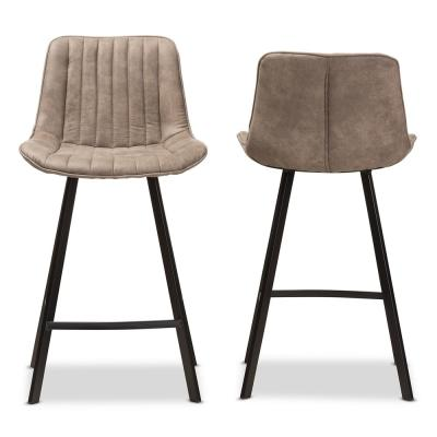 Leighton 26 in. Light Brown Bar Stool (Set of 2)
