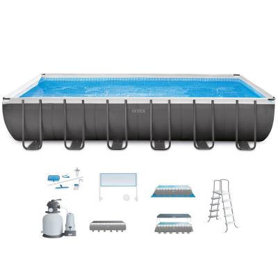 24 ft. x 12 ft. x 48 in. Deep Ultra Frame Rectangular Above Ground Swimming Pool Set with Sand Pump