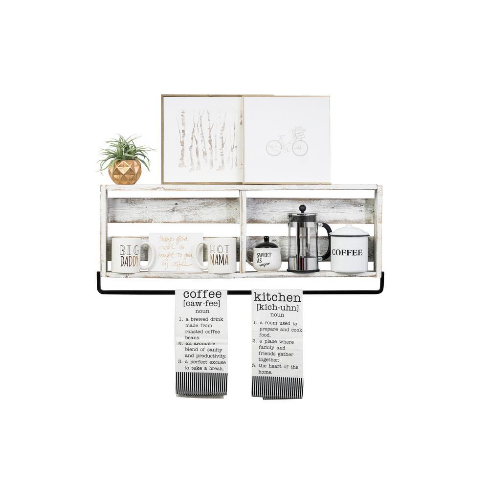 Del Hutson Designs 36 in. x 4 in. White Plank Barnwood Towel Rack Decorative Shelf