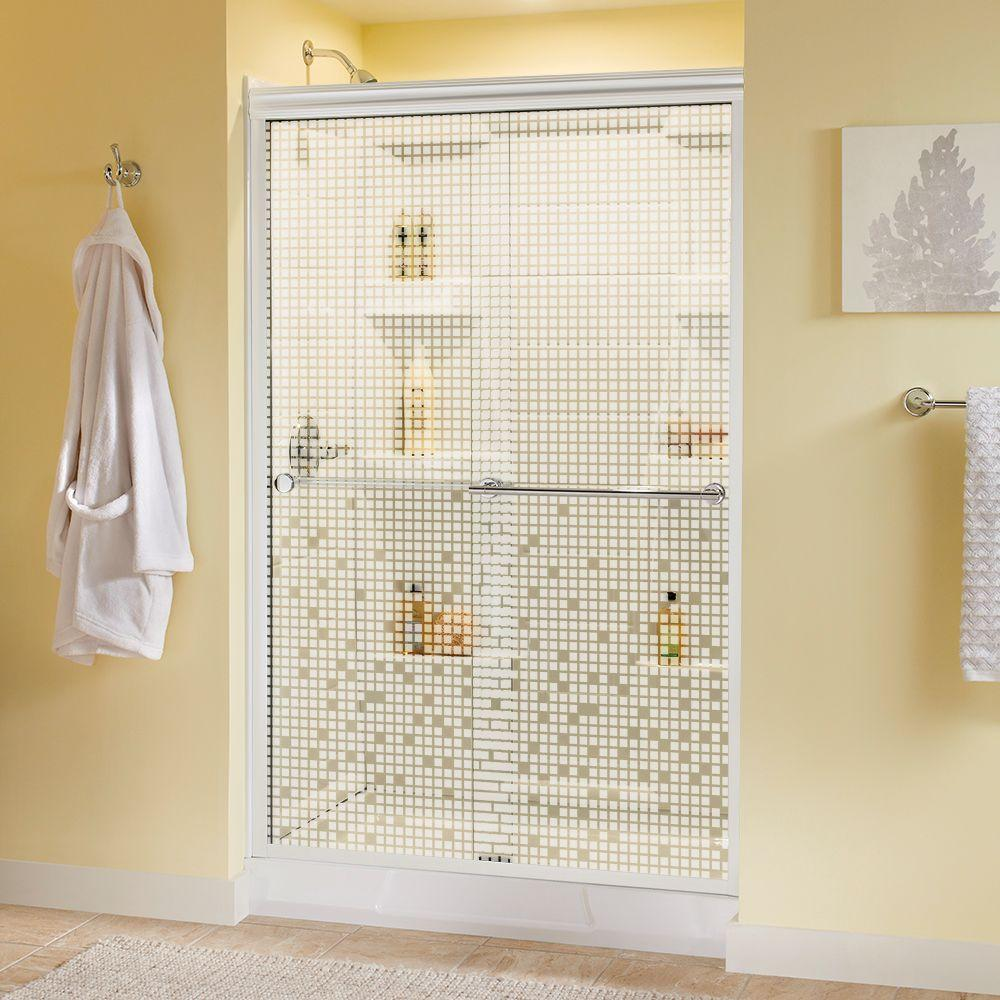 Delta Lyndall 48 in. x 70 in. Semi-Frameless Sliding Shower Door in White with Chrome Handle and Mozaic Glass
