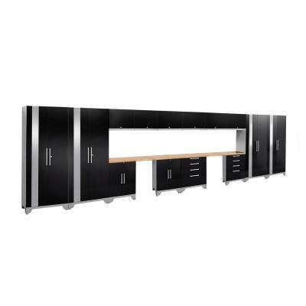 Performance 2.0 72 in. H x 264 in. W x 18 in. D Garage Cabinet Set in Black (16-Piece)
