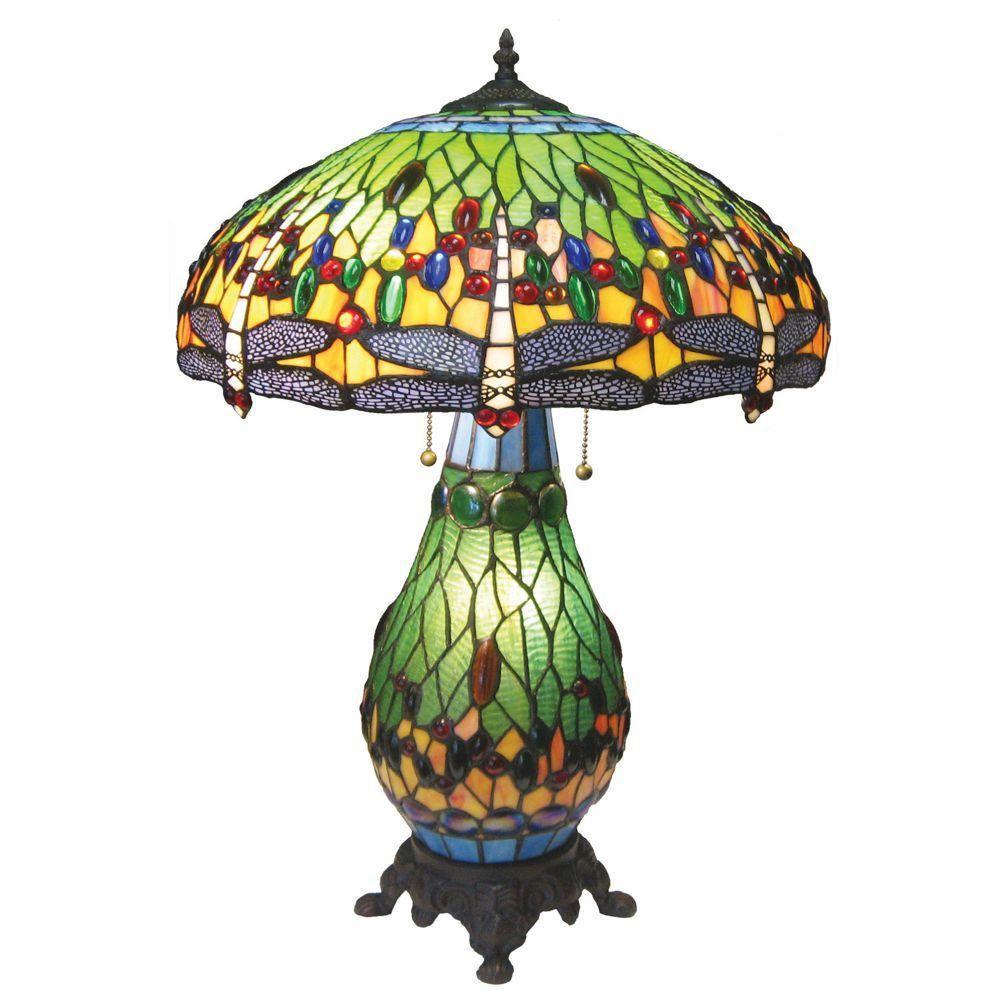 Chloe Lighting Tiffany-style Dragonfly 18 in. 3 Light Double Lit Table Lamp -Discontinued