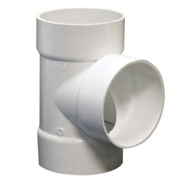 4 in. PVC Sewer and Drain Hub x Hub x Hub Tee
