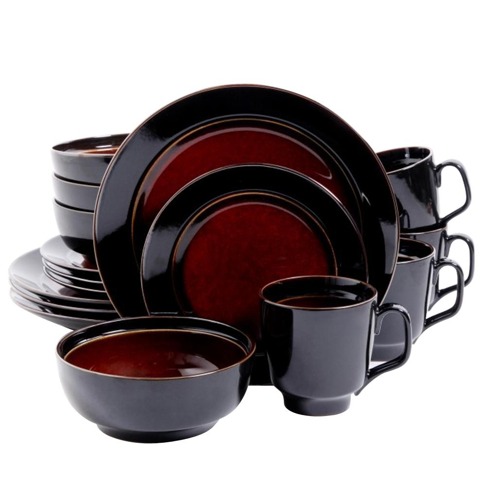 GIBSON ELITE Bella Galleria 16 Piece Red And Black Dinnerware Set