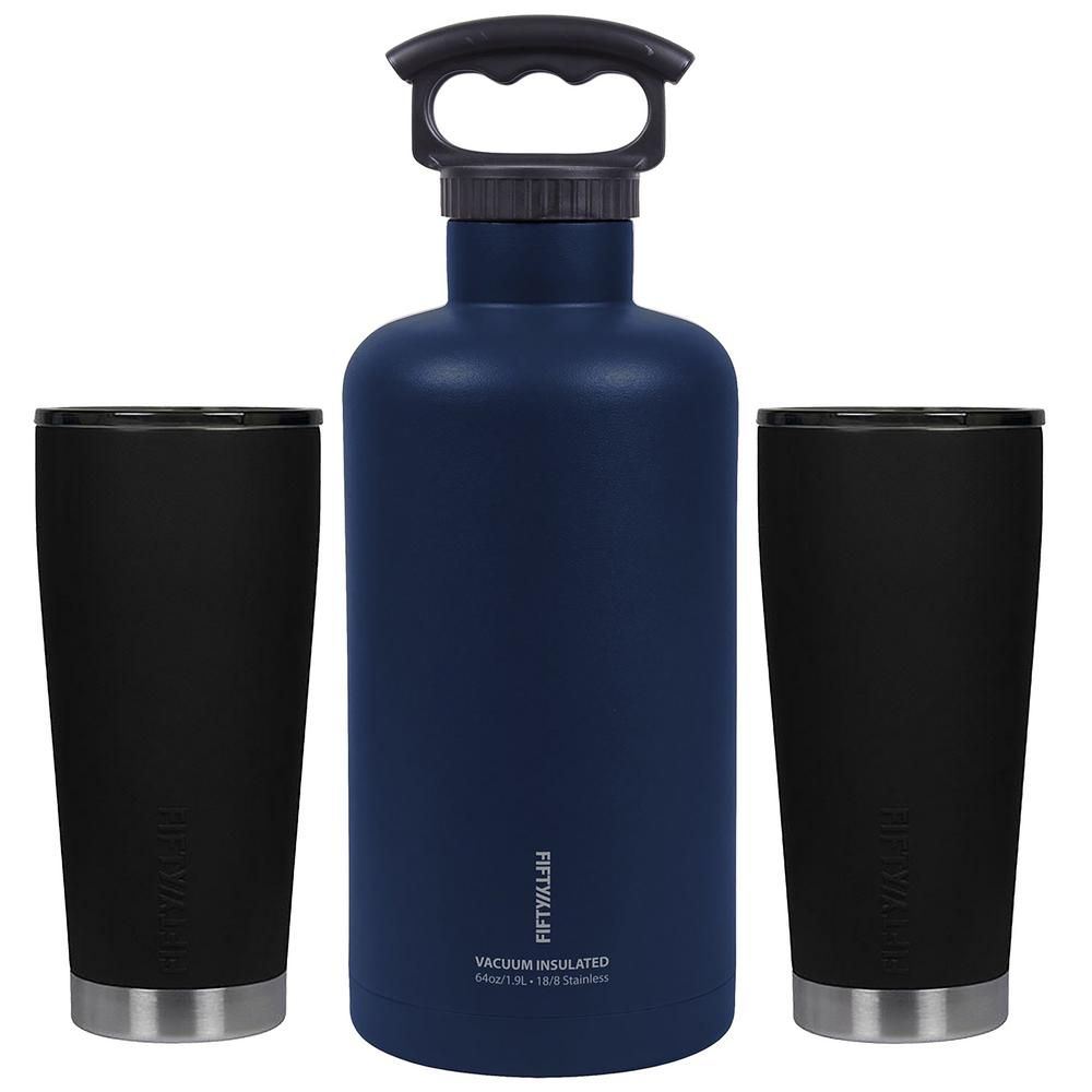 FIFTY/FIFTY Ultimate Outdoor 64 oz. Black and Navy Blue Insulated Beer Growler Bundle