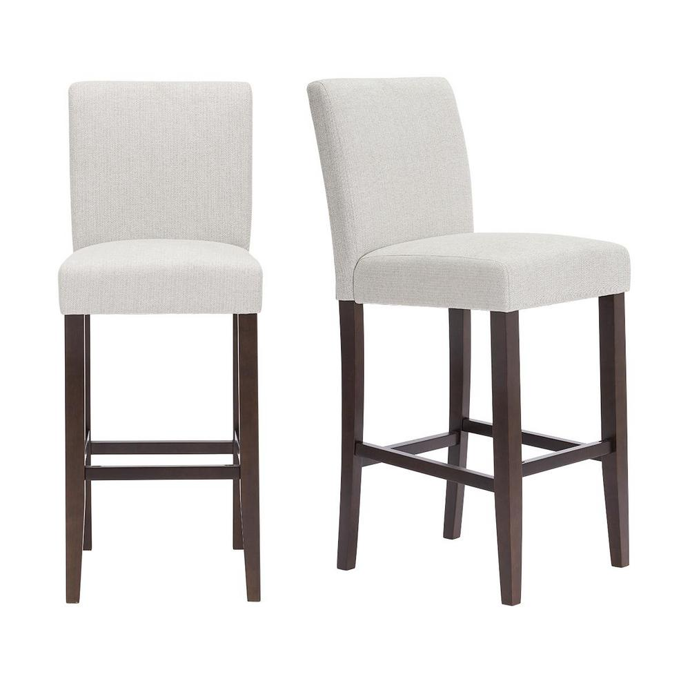 StyleWell Banford Sable Brown Wood Upholstered Bar Stool with Back and Riverbed Brown Seat (Set of 2) (17.51 in. W x 44.29 in. H), Riverbed/Sable was $279.0 now $167.4 (40.0% off)