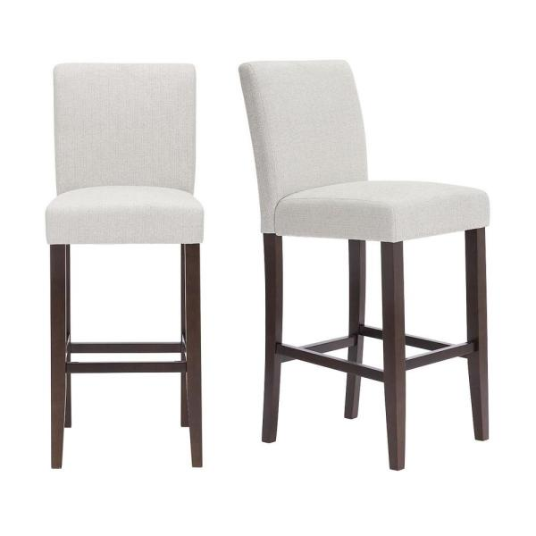 Banford Sable Brown Wood Upholstered Bar Stool with Back and Riverbed Brown Seat (Set of 2) (17.51 in. W x 44.29 in. H)